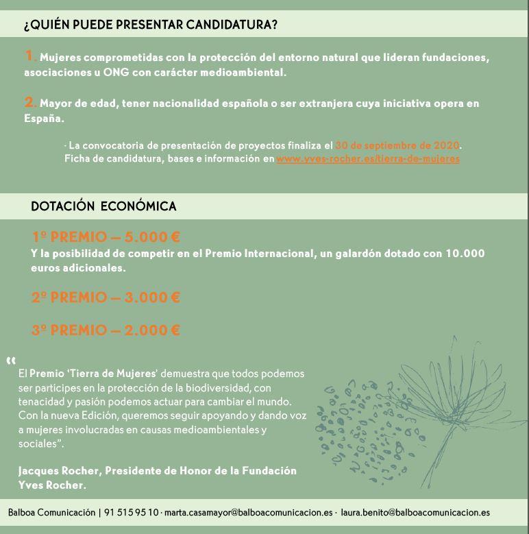 FUNDACIÓN YVES ROCHER_PREMIO TIERRA DE MUJERES 7-9-20 2